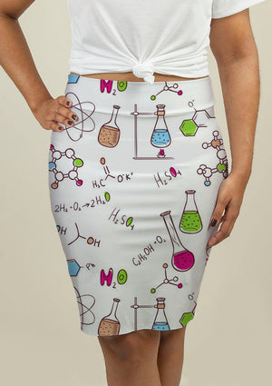 Pencil Skirt with Chemistry Pattern