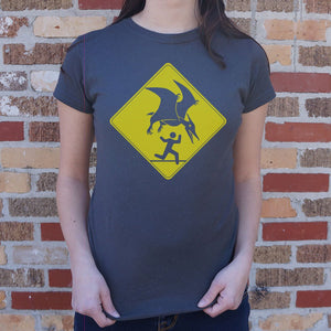 Pterosaur Warning  T-Shirt (Ladies)