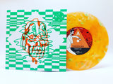 "Damaged Bug / Black Pus - Less Artists More Condos Series #17 (Limited Edition Milky Clear & Orange w/ Green Splatter 7"" Split Vinyl x/400)"