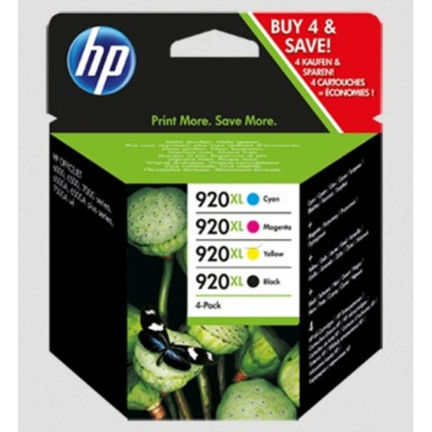 HP 920XL Multi Pack Containing 4 Cartridges, Cyan, Magenta, Yellow & Black (C2N92AE)