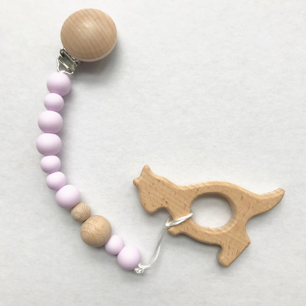 Lilac Pacifier Clip & Teether