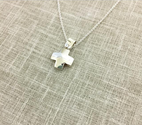 Inflated Silver Cross & Necklace