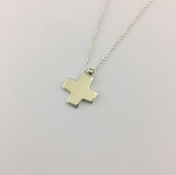 Square Silver Cross & Necklace