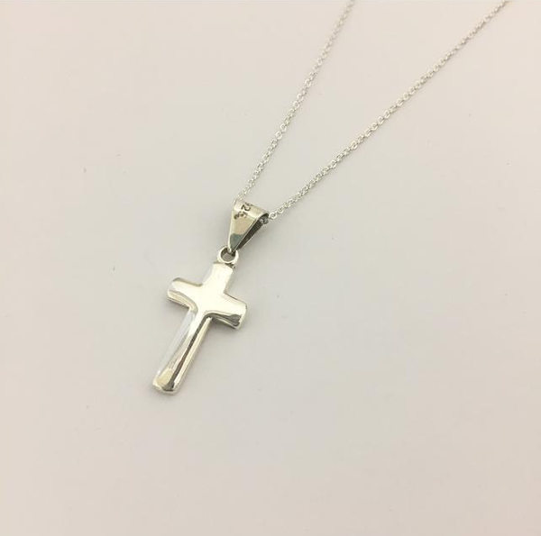 Long Silver Cross & Necklace