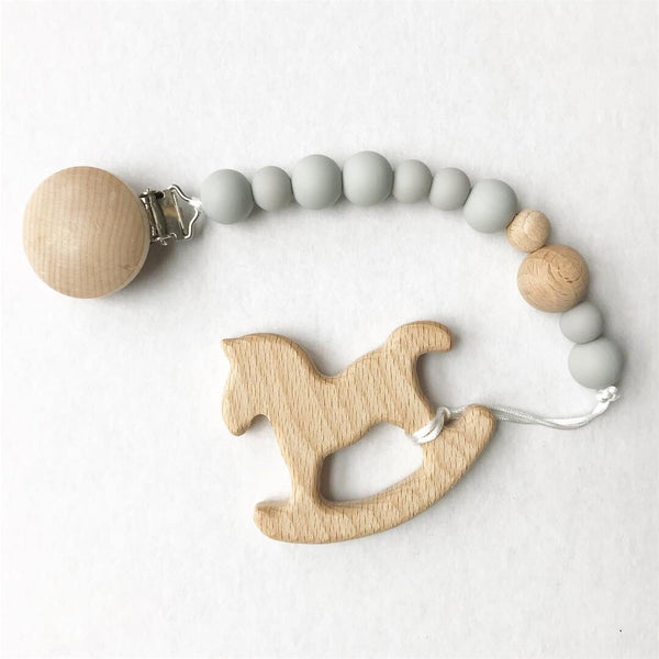 Gray Pacifier Clip & Teether
