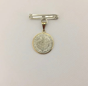 Large San Benito Gold & Silver Medal + Silver Brooch
