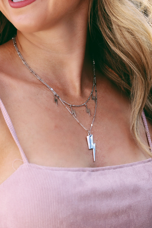 Striking Out Necklace - Silver