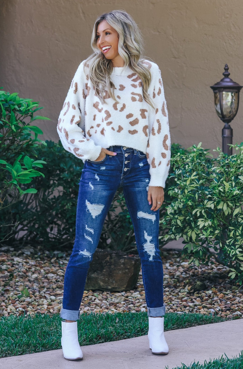 Play It Cool Cheetah Print Sweater