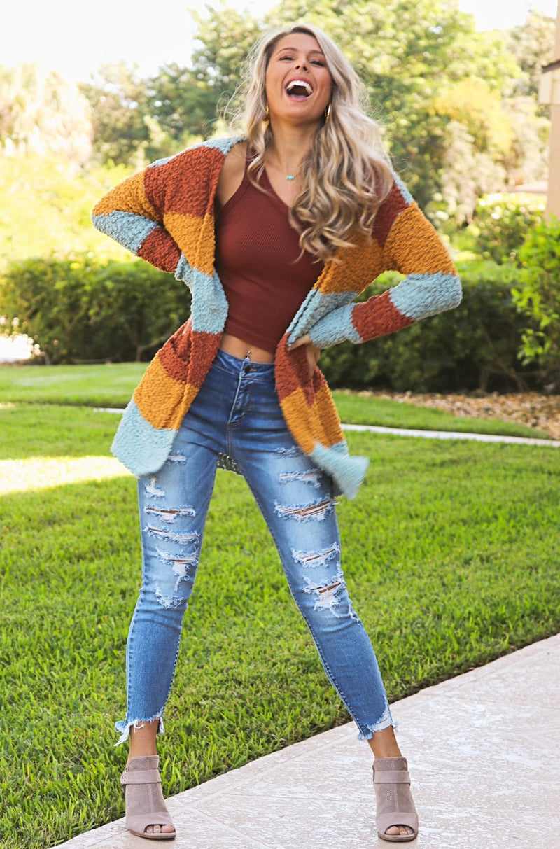 Cozy And Carefree Popcorn Cardigan