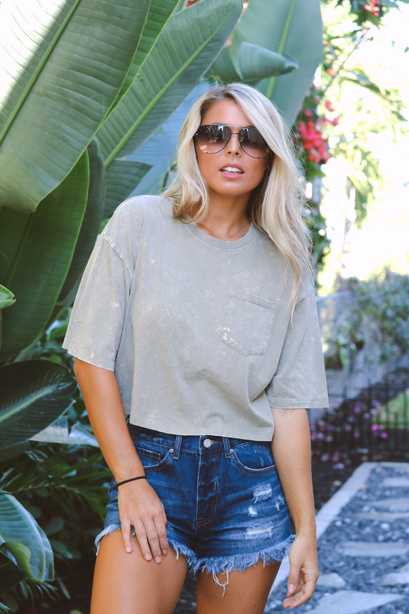 Not A Care Top - Olive
