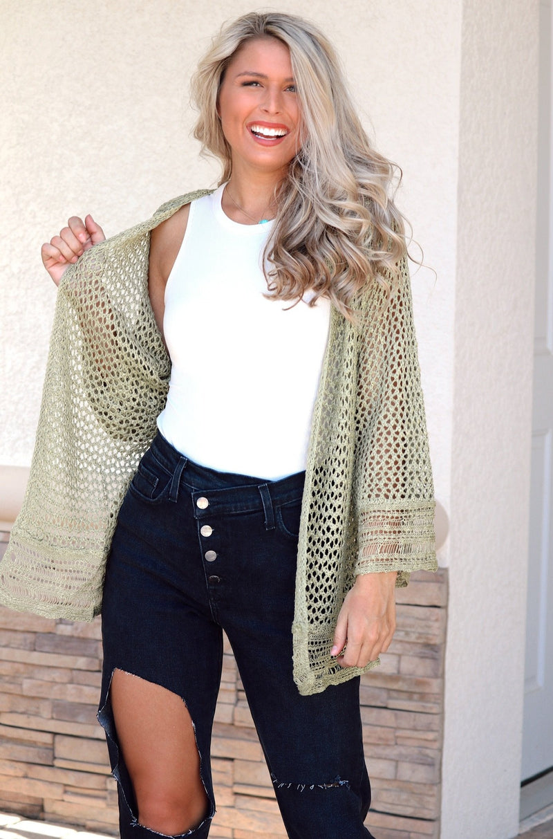 You're My Favorite Knit Cardigan - Olive