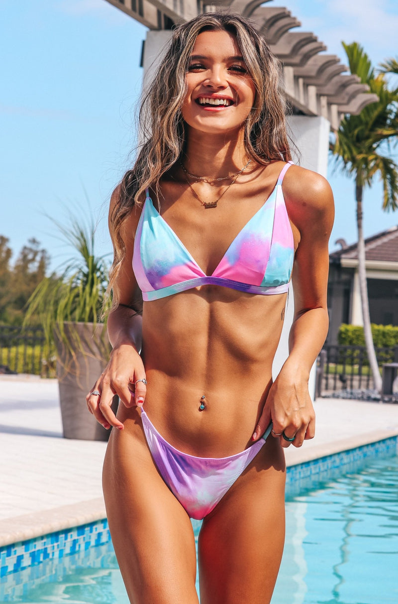 Pastel Skies Bikini Set And Skirt
