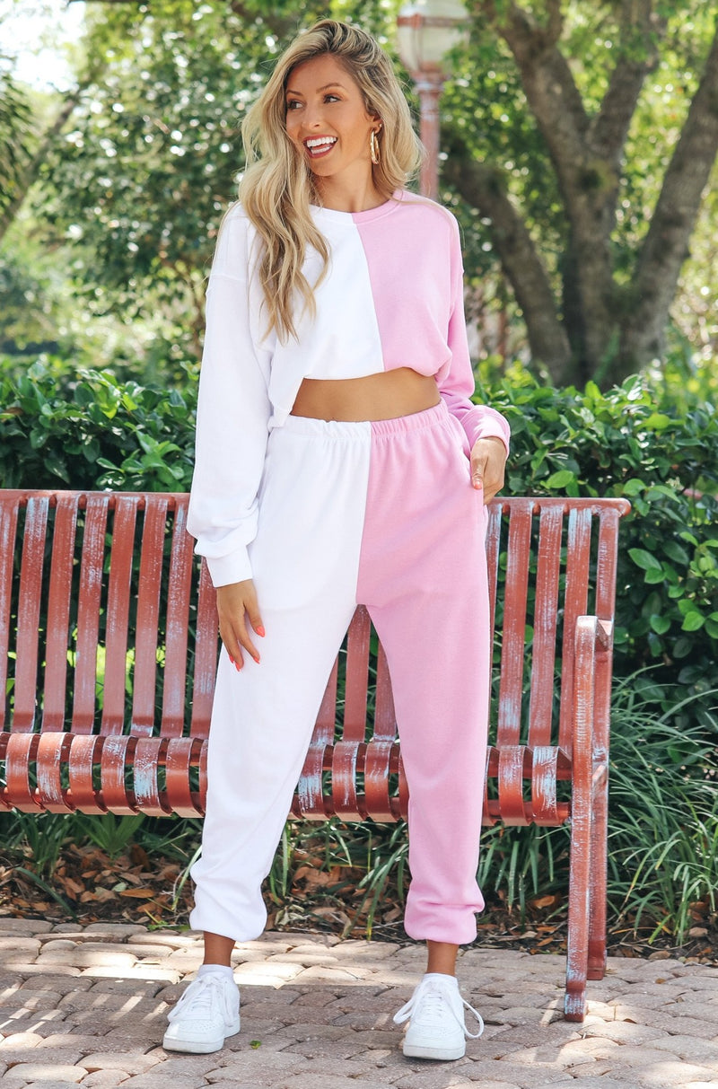 Ying To My Yang, Two-Tone Joggers - Pink