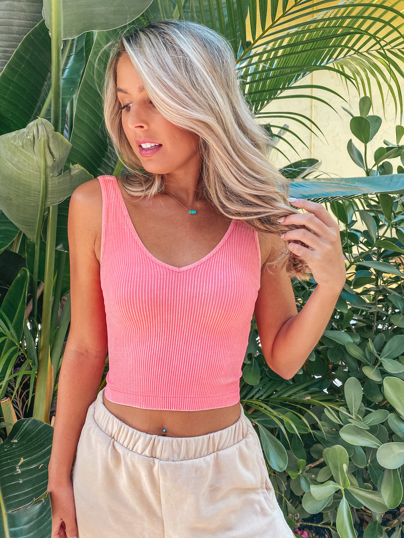 Everyday Essential Ribbed Crop Tank- Pink/ Coral