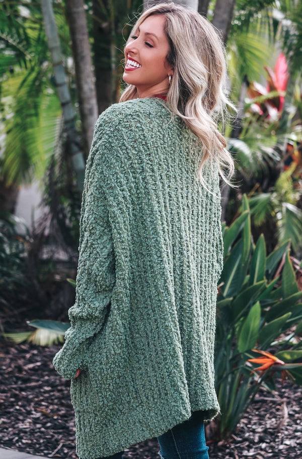 Secret Obsession Popcorn Cardigan- Olive