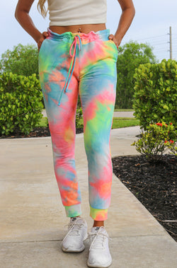 Dreaming In Color Tie-Dye Joggers - Pink/Blue