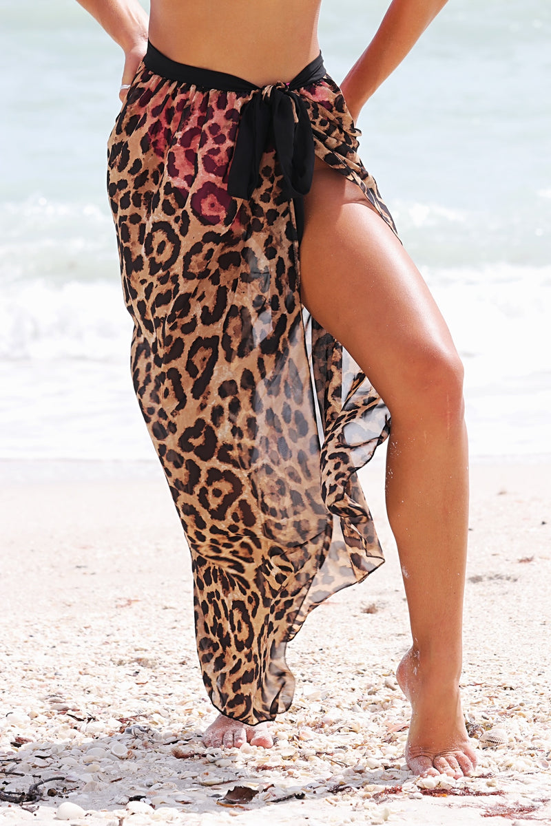 Island Exclusive Cover Up Skirt- Leopard