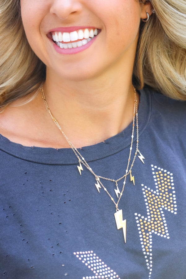 Striking Out Necklace -Gold
