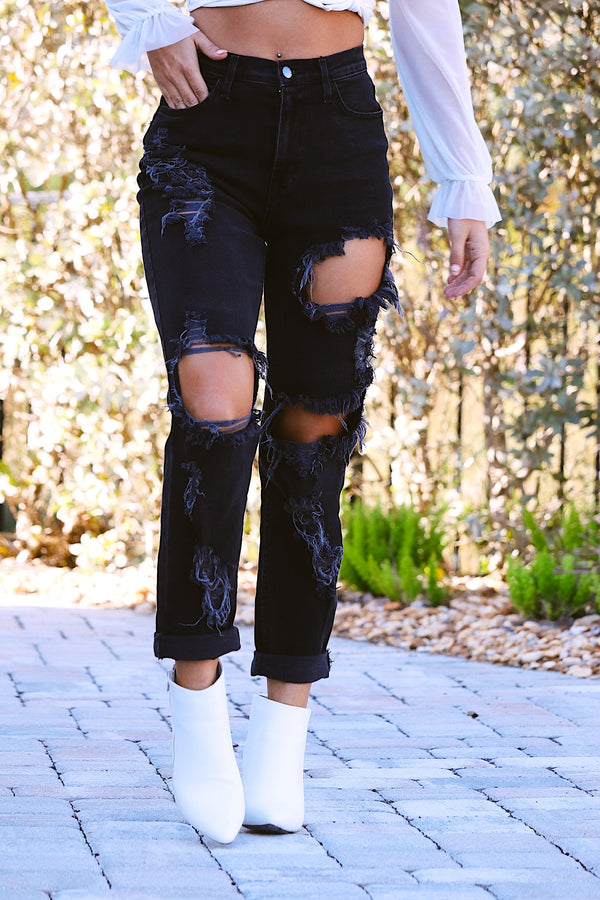 Ripped Apart Distressed Boyfriend Jeans- Black