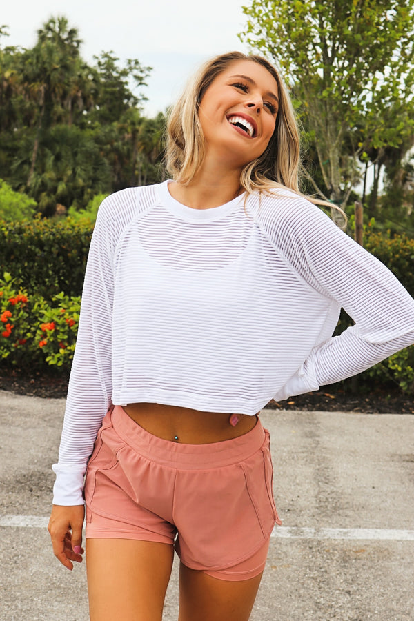 On The Right Track Mesh Top - White