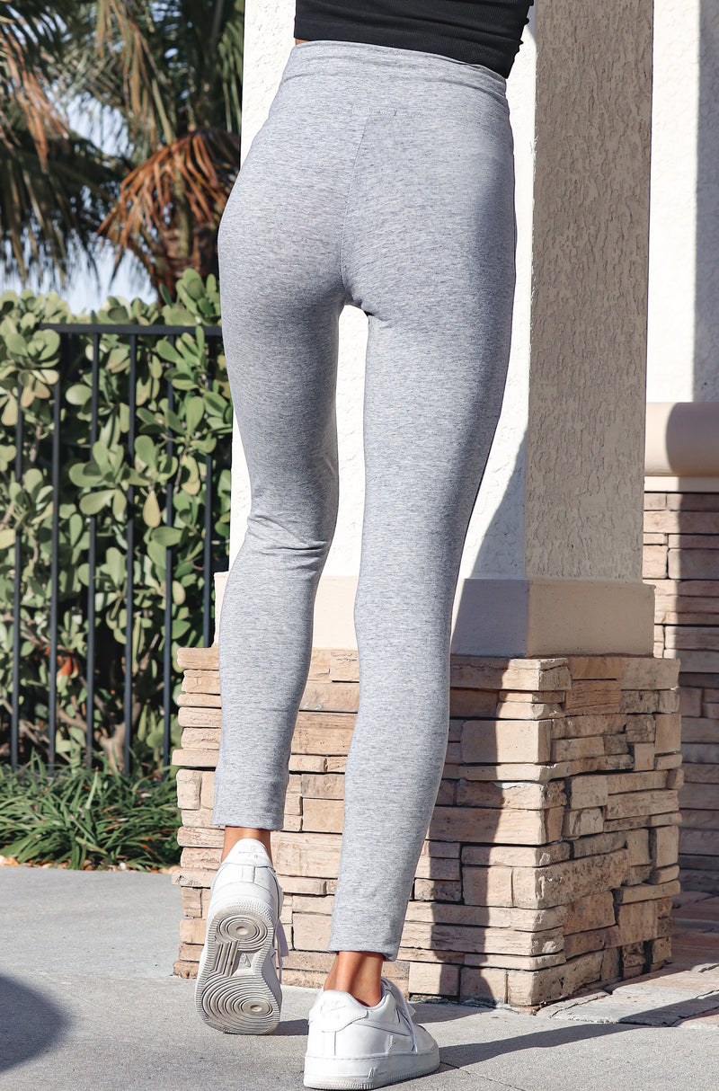 Casual Chic Crossover Leggings- Heather Grey