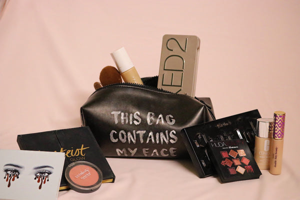 """This Bag Contains My Face"" Makeup Bag In Black"