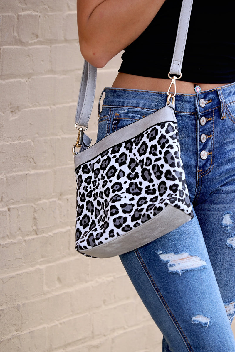 3 In One Leopard Purse- Grey