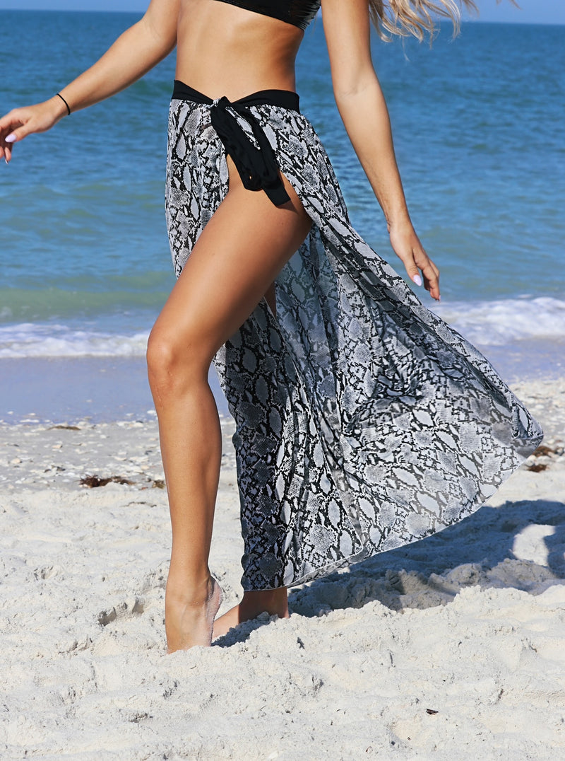 Island Exclusive Cover Up Skirt- Snake Print