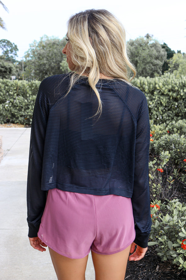 On The Right Track Mesh Top - Black