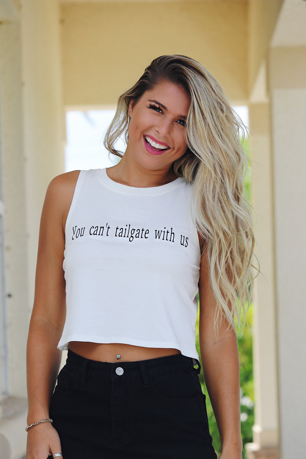 You Can't Tailgate With Us Tank Top - White