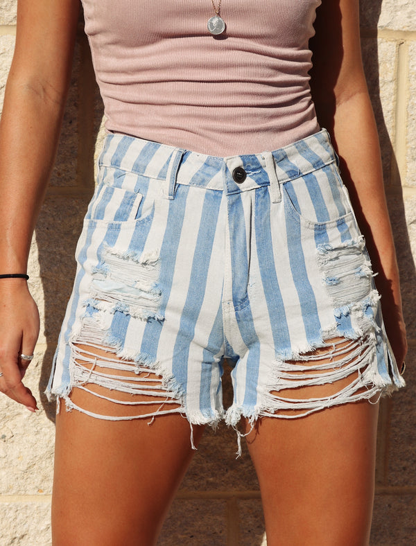 Double Take Buddy Love Blue Stripe Shorts Buddy Love