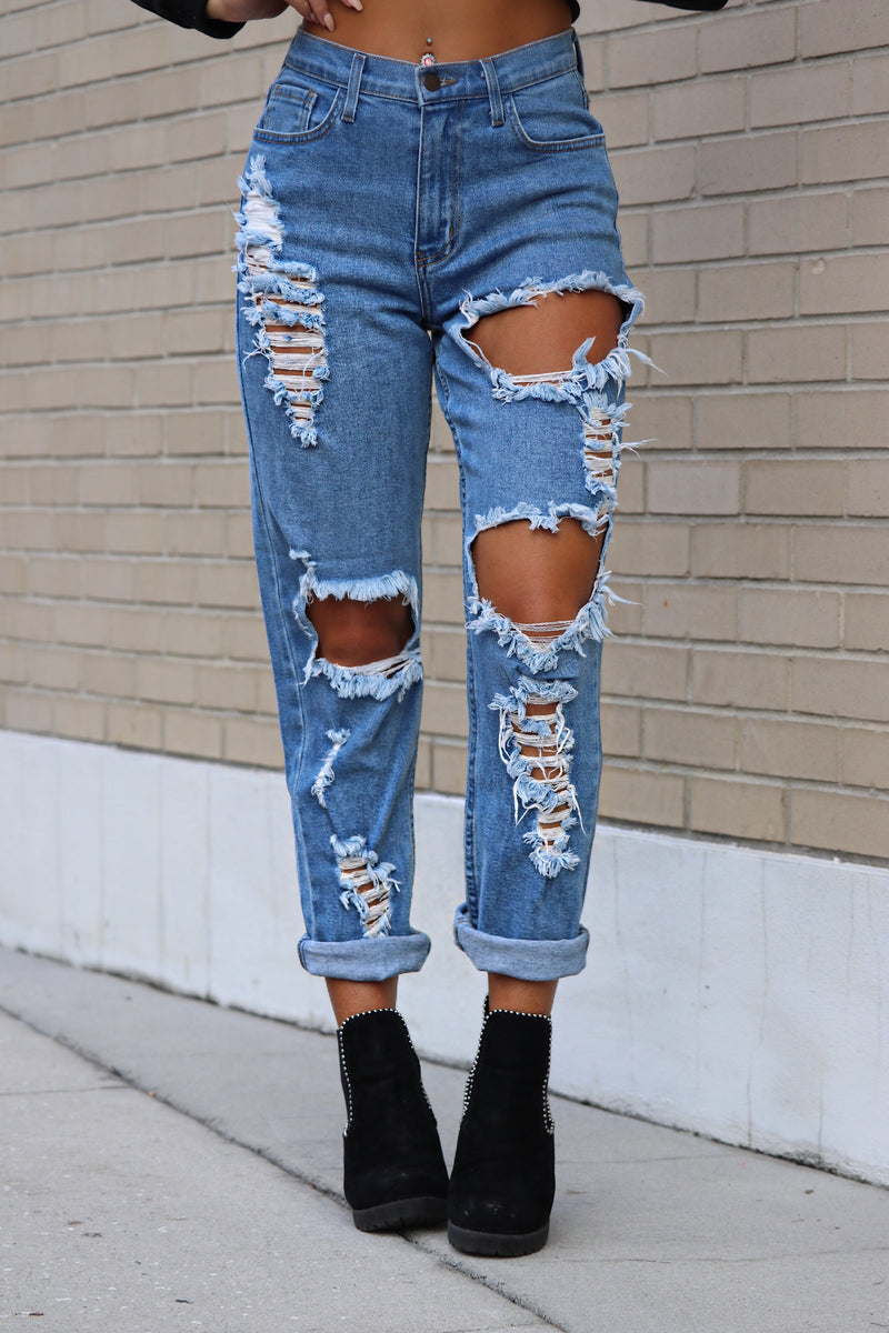 Ripped Apart Distressed Boyfriend Jeans