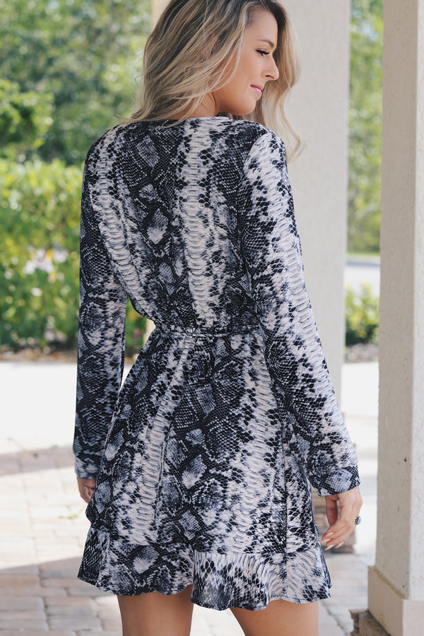 Fierce Love Snake Print Wrap Dress