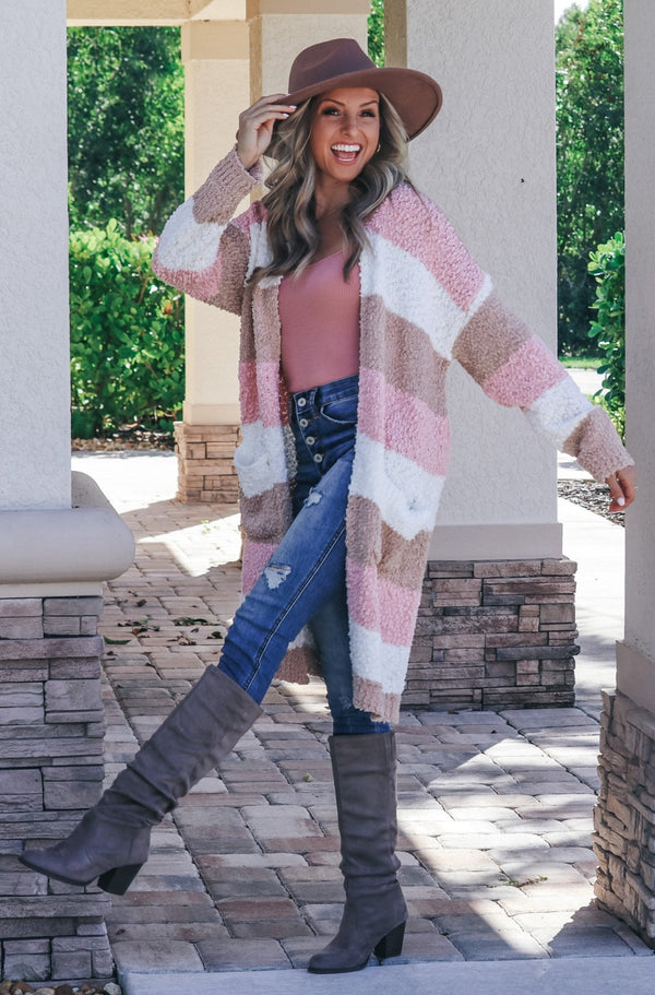 Chilly Nights Color Block Popcorn Cardigan