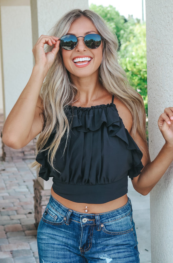 Brunch And Bubbly Ruffled Top - Black