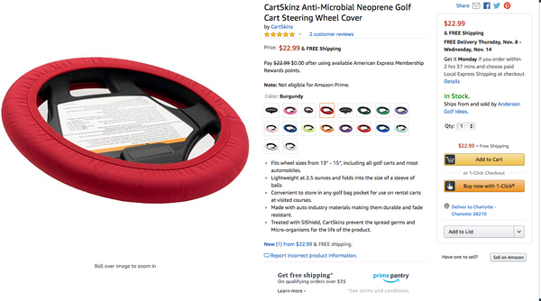 CartSkinz Golf Cart Steering Wheel covers now available on Amazon !