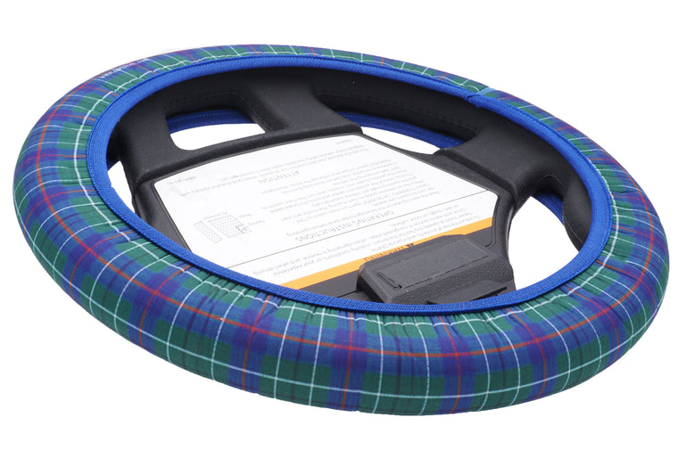 CartSkinz Blue Tartan Golf Cart Steering Wheel Cover