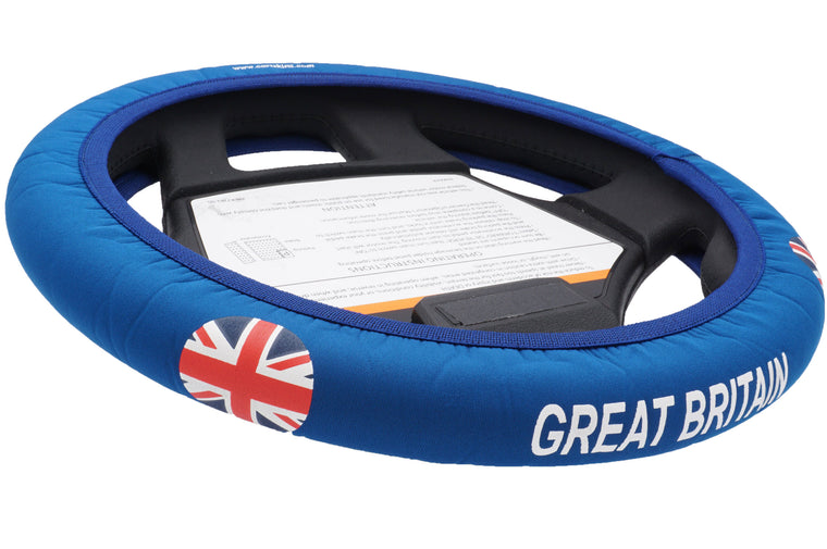 Great Britain Golf Cart Steering Wheel Cover.  Club Car Golf Cart Steering Wheel Cover.   EZ-GO Golf Cart Steering Wheel Cover.   Yamaha Golf Cart Steering Wheel Cover.  Car Steering Wheel Cover.  ATV Steering Wheel Cover.  Boat Steering Wheel Cover.