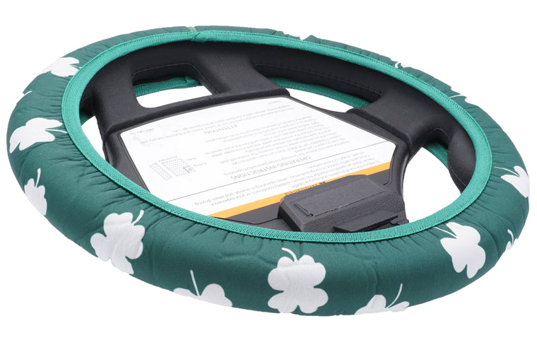 Shamrocks Golf Cart Steering Wheel Cover.  Club Car Golf Cart Steering Wheel Cover.   EZ-GO Golf Cart Steering Wheel Cover.   Yamaha Golf Cart Steering Wheel Cover.  Car Steering Wheel Cover.  ATV Steering Wheel Cover.  Boat Steering Wheel Cover.