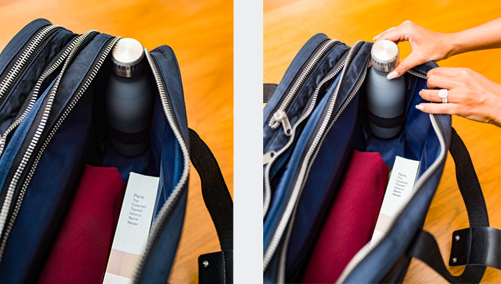 Personal item travel bag with water bottle holder
