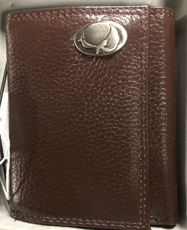 Brown Pebble Grain Leather Tri-fold Wallet Cotton Boll