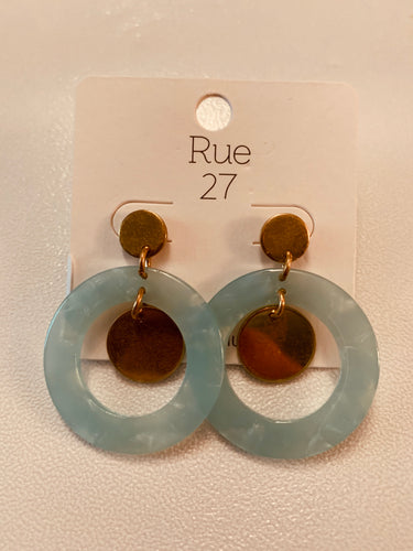 Acrylic Disc Earrings Mint
