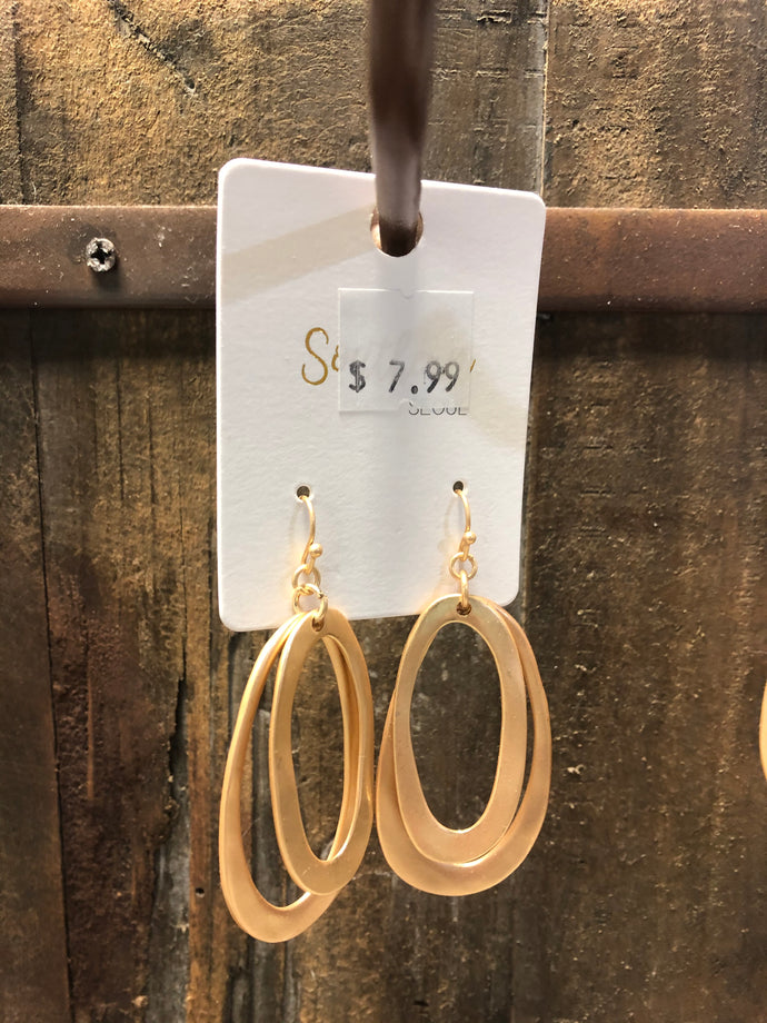 Matte Gold Double Loop Earrings