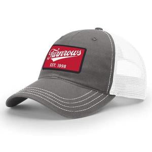 Turnrows Vintage Hat, Gray Trucker Red Logo
