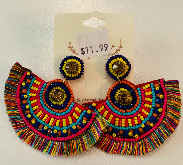Multicolor Bead & Thread Fan Earrings