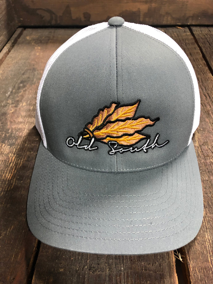 Old South Tobacco Leaf Trucker Mesh Hat Gray