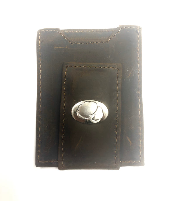 Leather Front Pocket Wallet (Peanut, Cotton Boll, Shotgun Shell)