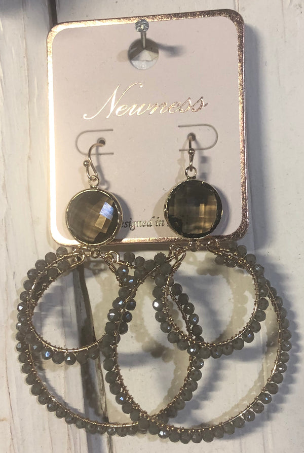 Blinged out Earrings Gray