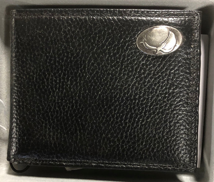 Black Pebble Grain Leather Bi-fold Wallet Cotton Boll