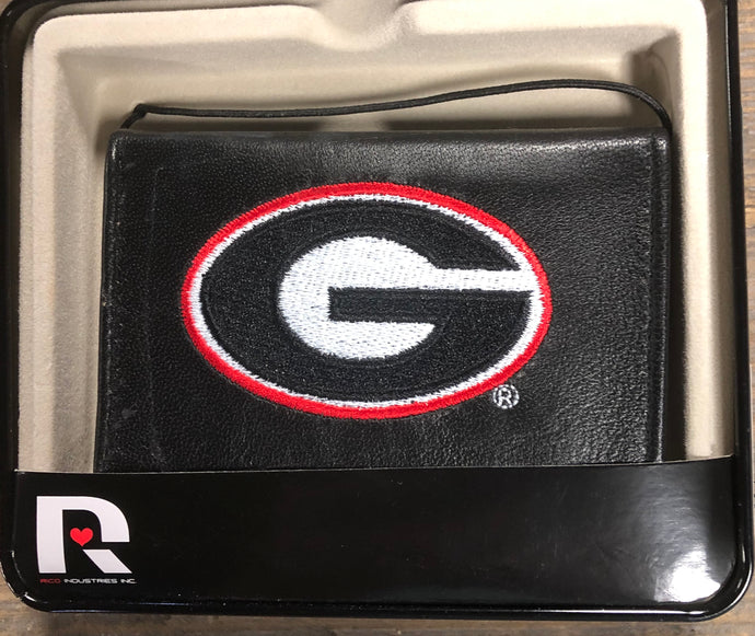 Black Leather Bi-fold Wallet UGA Georgia Bulldog